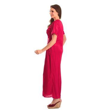 Clovia Satin Plain Nightwear - Baby Pink - NSM268G62
