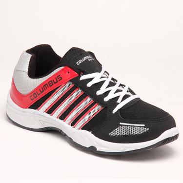 Columbus PU Sports Shoes - Black & Red-3682