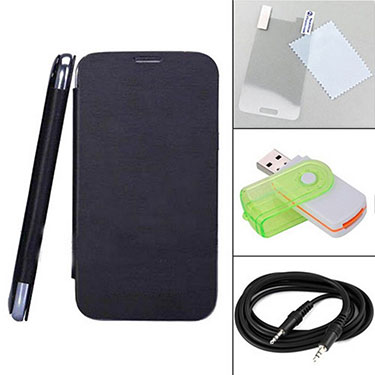 Combo of Camphor Flip Cover (Black) + Screen Protector for Sony Xperia L + Aux Cable + Multi Card Reader