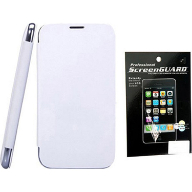 Combo of Camphor Flip Cover (White) + Screen Guard for Micromax A114