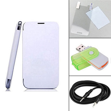 Combo of Camphor Flip Cover (White) + Screen Protector for Micromax A200 + Aux Cable + Multi Card Reader