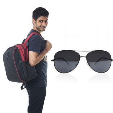 Combo of Fidato Backpack - Black + Wayfarer Sunglass-4187