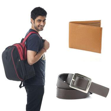 Combo of Fidato Backpack - Black + Belt + Leatherite Wallet-5285