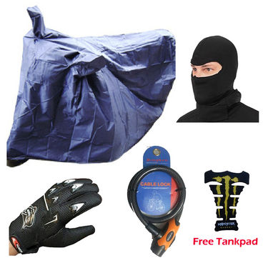 Combo of Bike Body Cover+Knighthood Gloves + Face Mask +  Number Cable Lock with Free Tank Pad