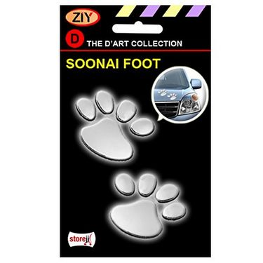 Soonai Foot Mark Silver Car Sticker Lucky Charm Pack of 2