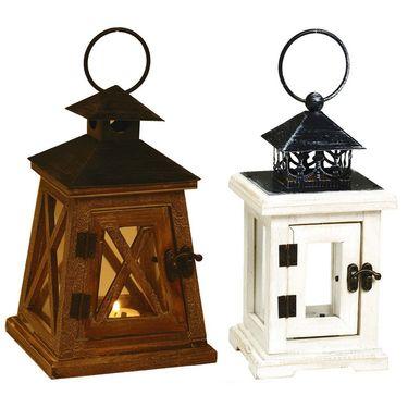 Set of 2 Wooden Lanterns with Hinge Door-DCH1408_DCH1413