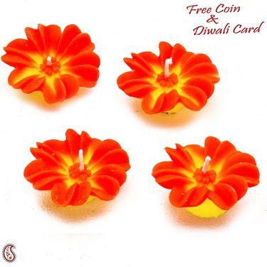 Orange & Yellow Flower Candle Diyas- Set of 4-DIDEC1547
