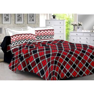 Valtellina 100% Cotton Double Bedsheet with 2 Pillow Cover-3005-D