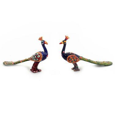 Little India Pure Brass Handpainted Peacock Pair Handicraft -152