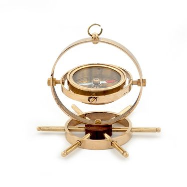 Little India Real Brass Spinning Golden Compass Brown Wheel 337