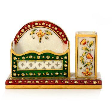 Little India Meenakari Marble Pen Stand n Visiting Card Holder 381