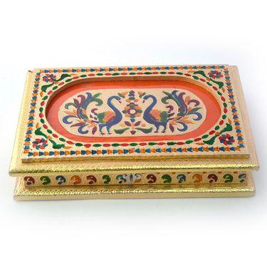 Little India Beautiful Peacocks Golden Meenakari Dryfruit Box 430