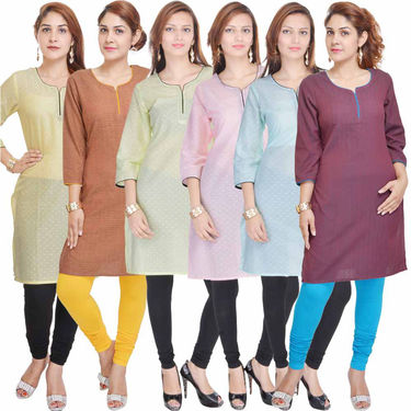 Combo of 6 Cotton Solid Kurti -DLI6KCO605