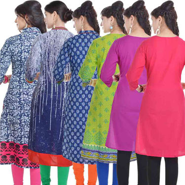 Combo of 6 Cotton Printed Kurti -DLI6KCO606