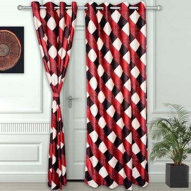 Story @ Home Maroon 2 pc Door curtain-7 feet-DNR3011