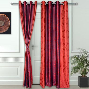 Story @ Home Maroon 2 pc Door curtain-7 feet-DNR3021