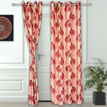 Story @ Home Maroon 2 pc Door curtain-7 feet-DNR3042