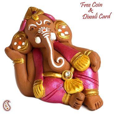 Aapno Rajasthan Multicolor Terracotta Big ear Ganesh Showpiece