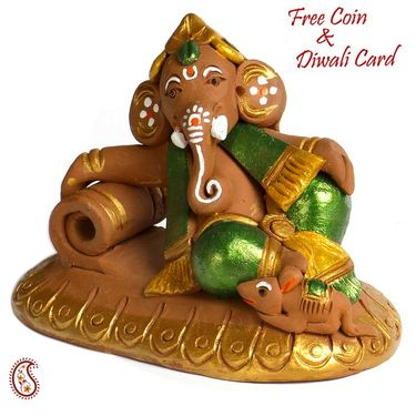 Aapno Rajasthan Multicolor Terracotta Ganesh Sitting on Moon Showpiece