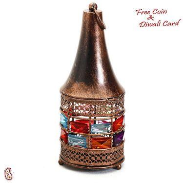 Copper Finish Conical Gun Metal Tea Light Holder