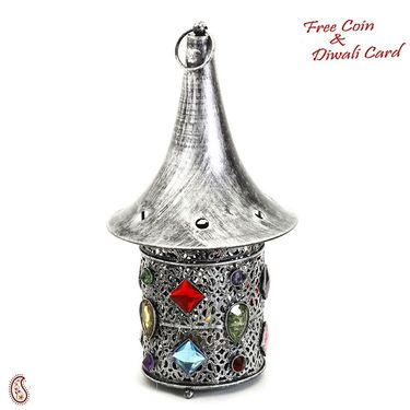 Hat Shaped Gun Metal Tea Light Holder with Colored Glass
