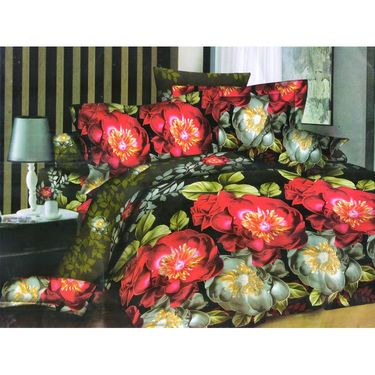 Set of 4 Floral 3D Printed Bedsheet with 8 Pillow Covers-DWCB-467_60_09_63