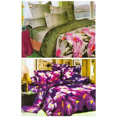 Set of 2 Floral 3D Printed Bedsheet with 4 Pillow Covers-DWCB-477_79