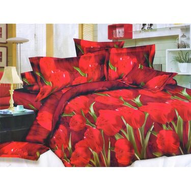 Set of 2 Floral 3D Printed Bedsheet with 4 Pillow Covers-DWCB-489_91