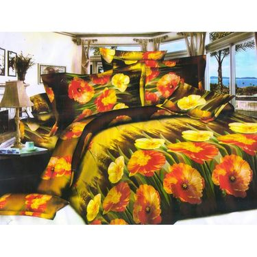Set of 4 Floral 3D Printed Bedsheet with 8 Pillow Covers-DWCB-493_95_94_92