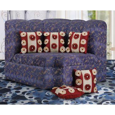 Dekor World 9 Flower Tissue Cushion Cover (Pack of 5)-DWCC-12-123-5
