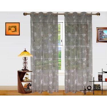 Paris Print Sheer Eyelet Window Curtain-Pack Of 2 -DWCT-365-5