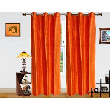Pejali Pattern Rust Eyelet Window Curtain-Pack Of 2 -DWCT-386-5