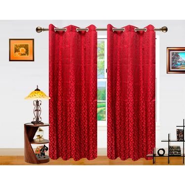 Dekor World Sprial Altra Window Curtain-Set of 2 -DWCT-718-5
