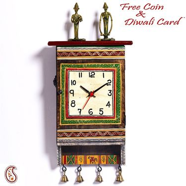 Beautiful Green Dhokra Art Wall Clock cum Key Holder