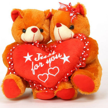 Valentine Stuff Toy Teddy Bear Couple Join with Heart