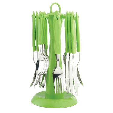 Elegante Signature Green Look Cutlery Set - 24 Pcs With Stand ESGRNCS024