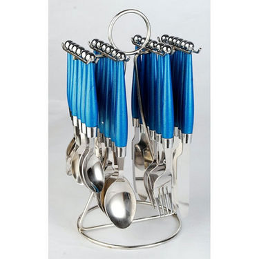 Elegante Solitaire 24Pcs Cutlery Set with Stand - Blue