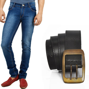 Combo of Cotton Jeans + Casual Belt_D204b235