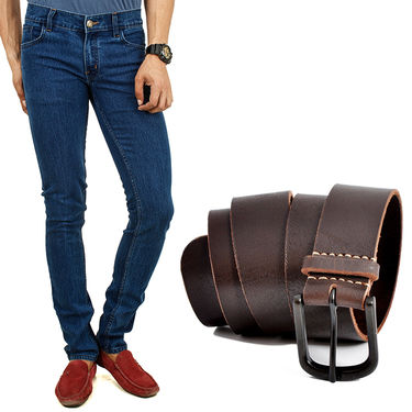 Combo of Cotton Jeans + Casual Belt_D210b227