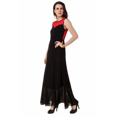 Fasense Power Net & Satin Solid Dresses  -FD001B2