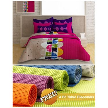 Storyathome Pink Abstract 1 Double Bedsheet With 2 Pillow Cover -FE1127_TT