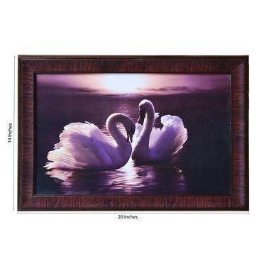 eCraftIndia 2 Swans Design Satin Matt Texture Framed UV Art Print-FPGK707