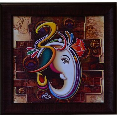 eCraftIndia Colorful Om Ganesha Design Satin Matt Texture Framed UV Art Print-FPGK722