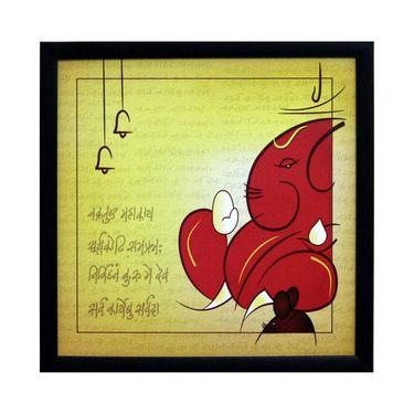 eCraftIndia Vakratund Ganesha Satin Matt Texture Framed UV Art Print-FPSJ639