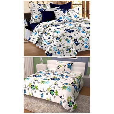 Storyathome 100% Cotton Double Bedsheet & 1 Single Bedsheet With 3 Pillow Cover -FR_1403-HY1402