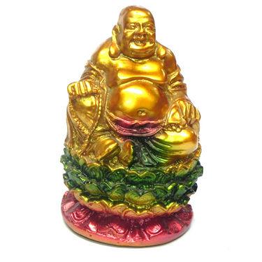 Fengshui Laughing Buddha On Flower For Prosperity - Golden