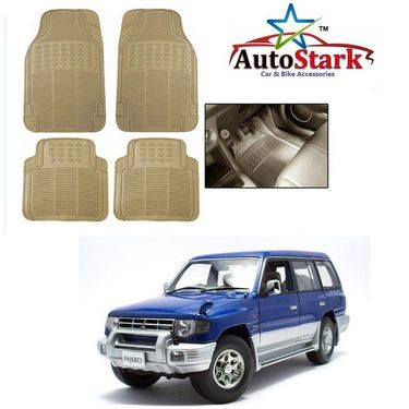 AutoStark - Premium Quality Beige Rubber Car Foot Mat For - Mitsubishi Pajero
