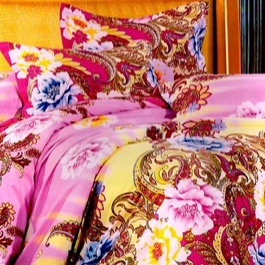 Valtellina Multicolor Design Print 2 Double bedsheet & 4 Pillow covers-GLO-15-16