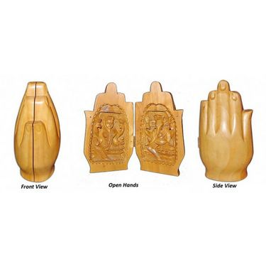 GRJ India Set Of 2 Wood Lord Laxmi Ganesha In Form Of Folded Hands