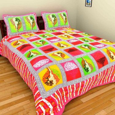 GRJ India Pure Cotton Multi Colour 3 Double BedSheet With 6 Pillow Covers-GRJ-3DB-71PK-67PK-73GRN